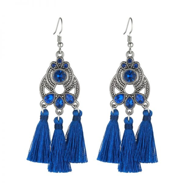 30322 231812 600x600 - LOVBEAFAS Bohemian Crystal Tassel Earrings Black White Blue Red Pink Silk Fabric Long Drop Tassel Earrings For Women Jewelry