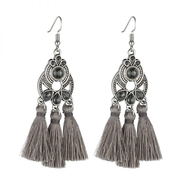 30322 7c0783 600x600 - LOVBEAFAS Bohemian Crystal Tassel Earrings Black White Blue Red Pink Silk Fabric Long Drop Tassel Earrings For Women Jewelry