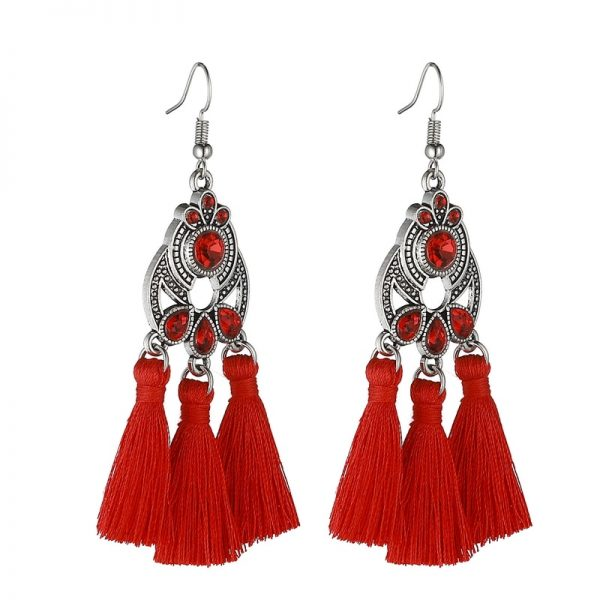 30322 b263ab 600x600 - LOVBEAFAS Bohemian Crystal Tassel Earrings Black White Blue Red Pink Silk Fabric Long Drop Tassel Earrings For Women Jewelry