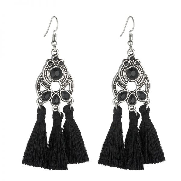 30322 bd0197 600x600 - LOVBEAFAS Bohemian Crystal Tassel Earrings Black White Blue Red Pink Silk Fabric Long Drop Tassel Earrings For Women Jewelry