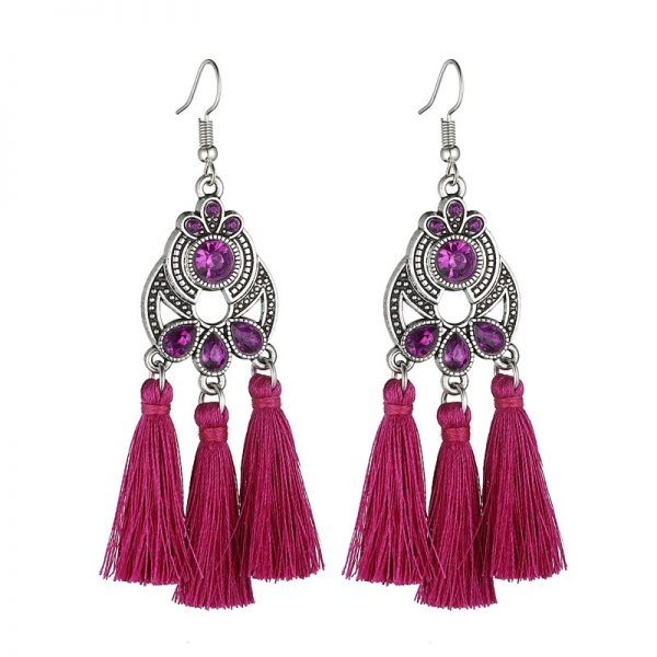 30322 f7238c 600x600 - LOVBEAFAS Bohemian Crystal Tassel Earrings Black White Blue Red Pink Silk Fabric Long Drop Tassel Earrings For Women Jewelry