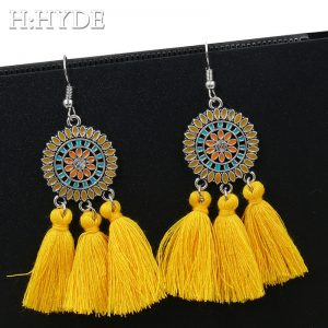 30361 e2772a 300x300 - H:HYDE Boho Wedding Yellow Red Tassel Jewelry femme Earrings for Women Vintage Ethnic Crystal Silk Fringe Drop Earrings