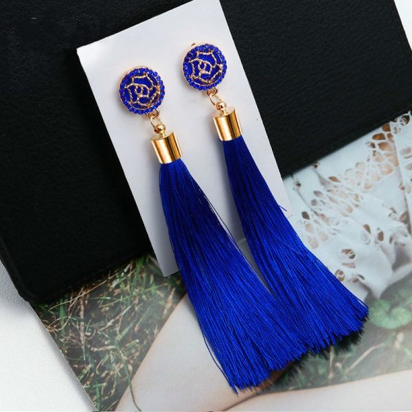 30407 535a50 600x600 - New Bohemian Crystal Tassel Earrings Black White Blue Red Pink Silk Fabric Long Drop Dangle Tassel Earrings For Women Jewelry