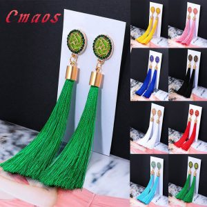 30407 9a41be 300x300 - New Bohemian Crystal Tassel Earrings Black White Blue Red Pink Silk Fabric Long Drop Dangle Tassel Earrings For Women Jewelry