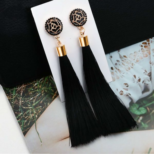 30407 b787c7 600x600 - New Bohemian Crystal Tassel Earrings Black White Blue Red Pink Silk Fabric Long Drop Dangle Tassel Earrings For Women Jewelry