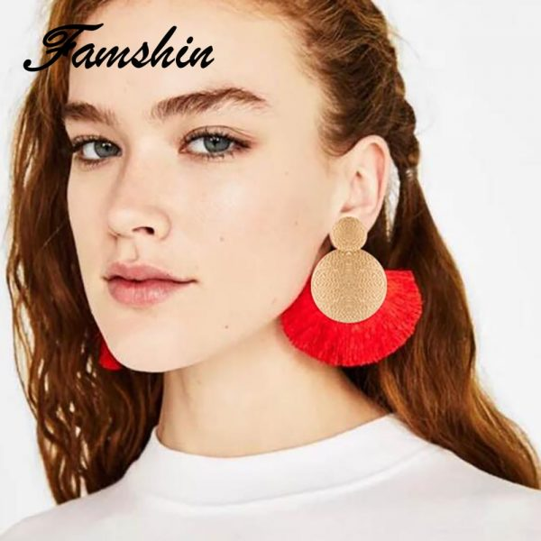 30433 f37f2d 600x600 - FAMSHIN Bohemia Red Long Tassel Earrings Vintage Ethnic Fringed Earring For Women Fashion Za Dangle Earrings Brincos Jewelry New
