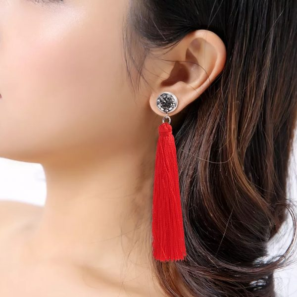 30509 2b7812 600x600 - HOCOLE  Fashion Bohemian Tassel Crystal Long Earrings White Red Silk Fabric Drop Dangle Tassel Earrings For Women 2019 Jewelry