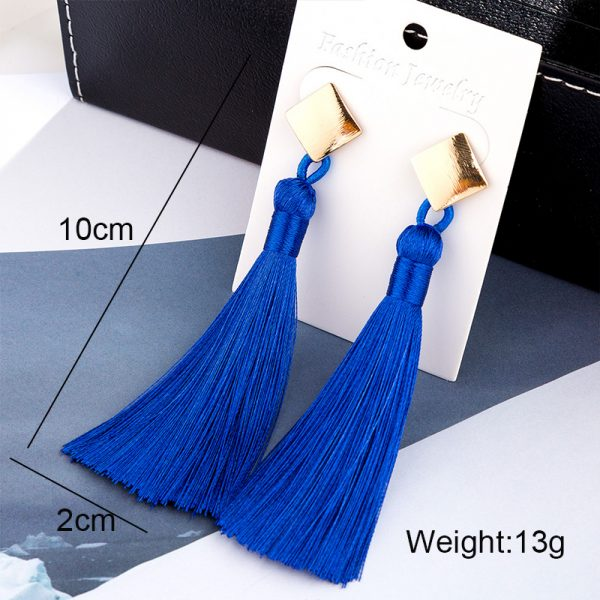 30509 60b472 600x600 - HOCOLE  Fashion Bohemian Tassel Crystal Long Earrings White Red Silk Fabric Drop Dangle Tassel Earrings For Women 2019 Jewelry