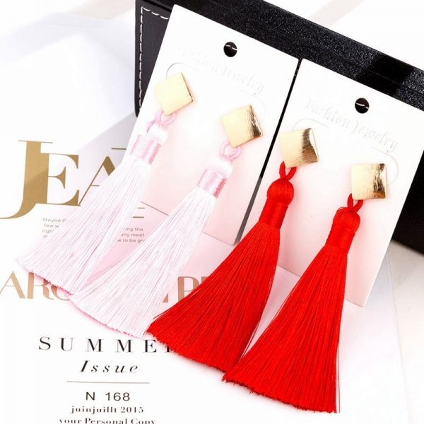 30509 d5f760 600x600 - HOCOLE  Fashion Bohemian Tassel Crystal Long Earrings White Red Silk Fabric Drop Dangle Tassel Earrings For Women 2019 Jewelry