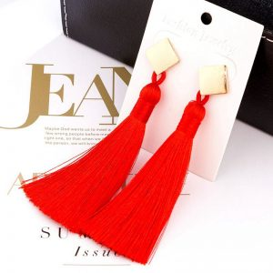 30536 64e4c4 300x300 - HOCOLE New Bohemian Crystal Tassel Earrings Black White Blue Red Silk Fabric Long Drop Dangle Tassel Earrings For Women Jewelry