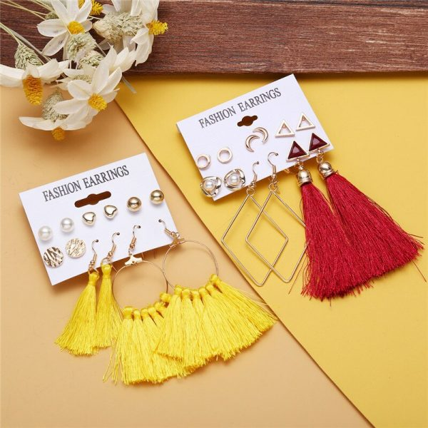 30601 eafec2 600x600 - Vagzeb Bohemian Tassel Crystal Long Drop Earrings for Women Red Black Cotton Silk Fabric Fringe Earring Fashion Woman Jewelry