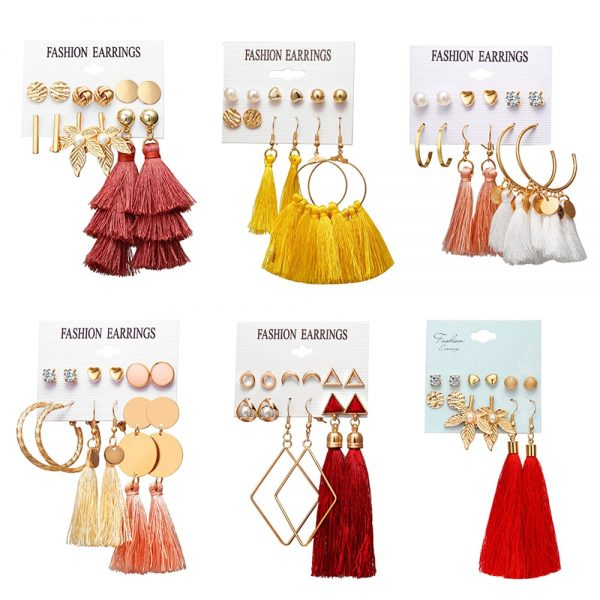 30601 ec8fd0 600x600 - Vagzeb Bohemian Tassel Crystal Long Drop Earrings for Women Red Black Cotton Silk Fabric Fringe Earring Fashion Woman Jewelry
