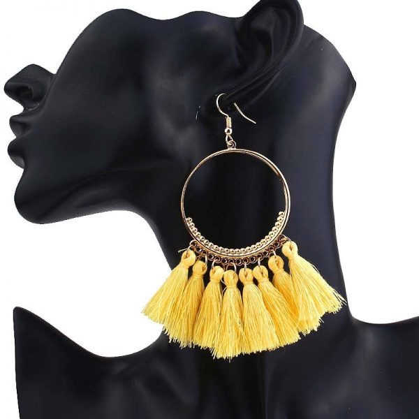 30666 b3d74b 600x600 - KEJIALAI Bohemian Tassel Earrings Women Vintage Round Long Drop Earrings Women's Wedding Party Bridal Fringed Jewelry Gift E3358
