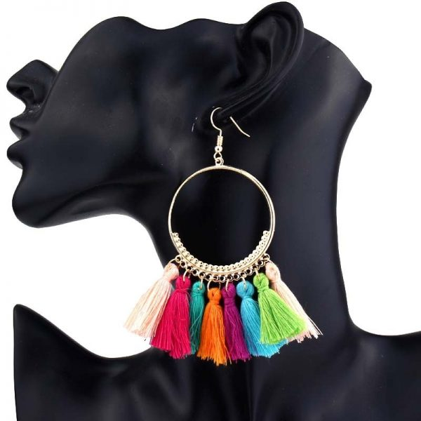 30666 d02364 600x600 - KEJIALAI Bohemian Tassel Earrings Women Vintage Round Long Drop Earrings Women's Wedding Party Bridal Fringed Jewelry Gift E3358