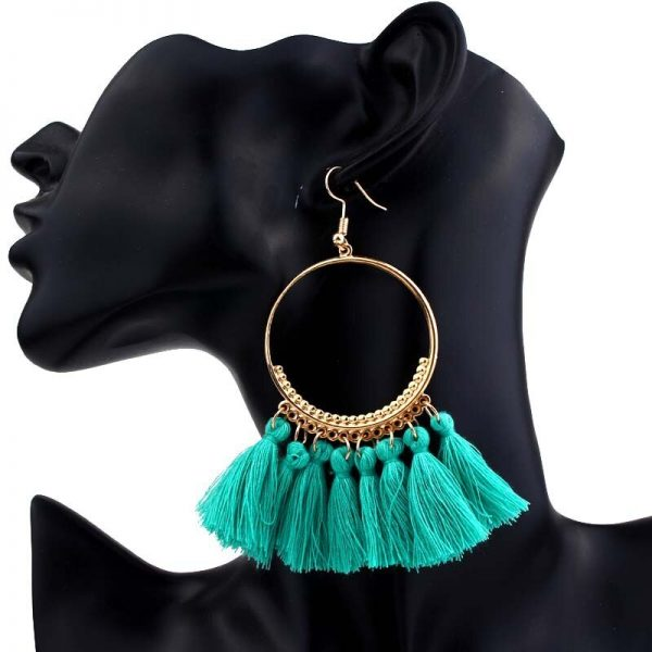 30666 e651df 600x600 - KEJIALAI Bohemian Tassel Earrings Women Vintage Round Long Drop Earrings Women's Wedding Party Bridal Fringed Jewelry Gift E3358