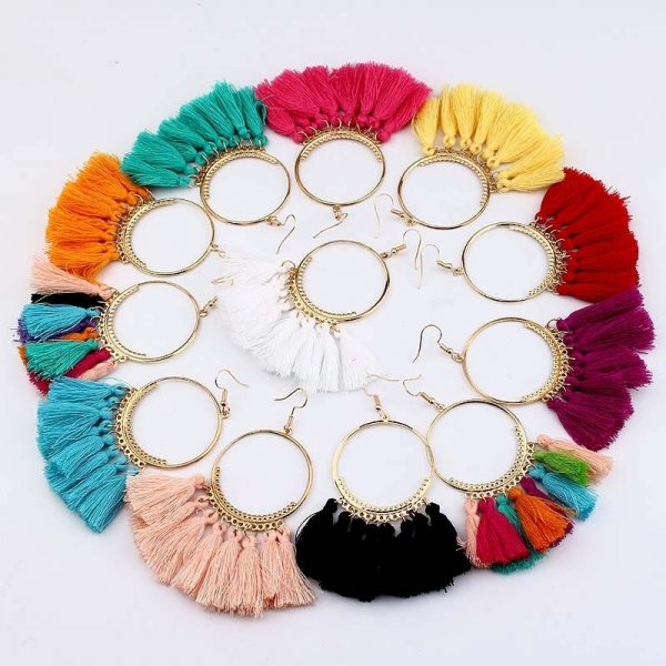 30666 e874e5 600x600 - KEJIALAI Bohemian Tassel Earrings Women Vintage Round Long Drop Earrings Women's Wedding Party Bridal Fringed Jewelry Gift E3358