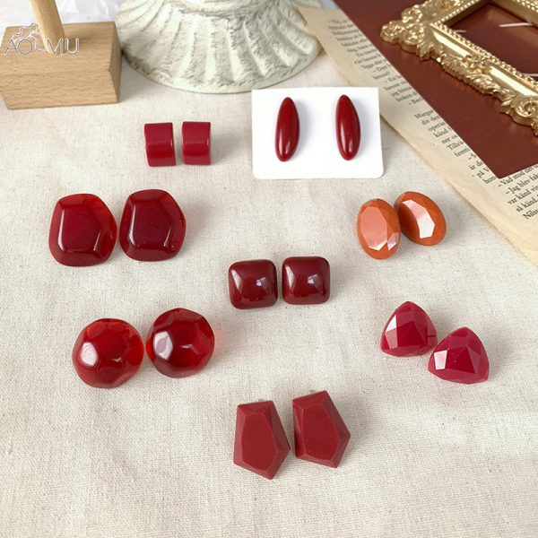 30994 26aa51 600x600 - AOMU 2019 New Vintage Red Wine Acrylic Acetate Geometric Irregular Small Stud Earrings for Women Girl Jewelry Party Gift
