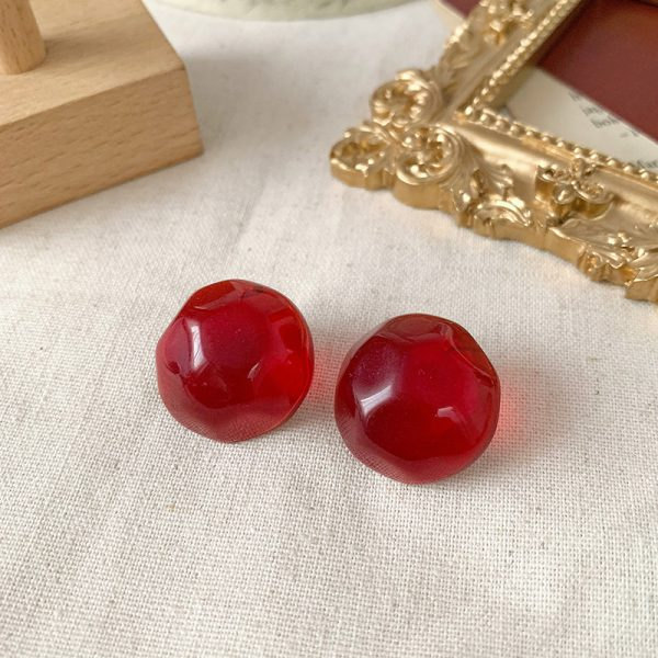 30994 45abc7 600x600 - AOMU 2019 New Vintage Red Wine Acrylic Acetate Geometric Irregular Small Stud Earrings for Women Girl Jewelry Party Gift