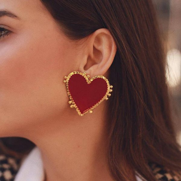31036 3b0ca9 600x600 - 2020 Bohemian Gold Color Heart Earrings For Women Punk Chic Red Enamel Stud Earrings Statement Wedding Earrings Party Jewelry