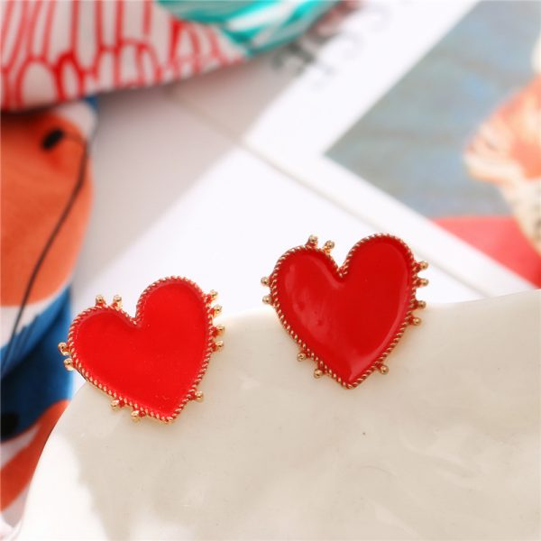 31036 7a4944 600x600 - 2020 Bohemian Gold Color Heart Earrings For Women Punk Chic Red Enamel Stud Earrings Statement Wedding Earrings Party Jewelry