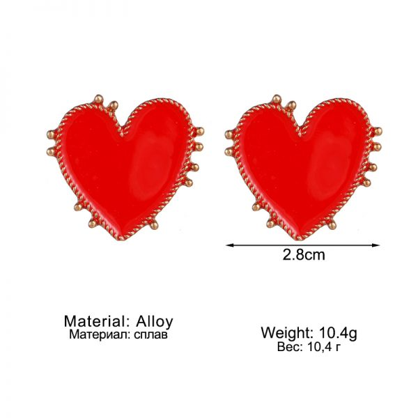 31036 a5c2a9 600x600 - 2020 Bohemian Gold Color Heart Earrings For Women Punk Chic Red Enamel Stud Earrings Statement Wedding Earrings Party Jewelry