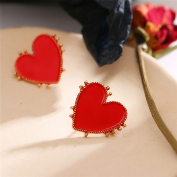 31036 d5d9ed 600x600 - 2020 Bohemian Gold Color Heart Earrings For Women Punk Chic Red Enamel Stud Earrings Statement Wedding Earrings Party Jewelry