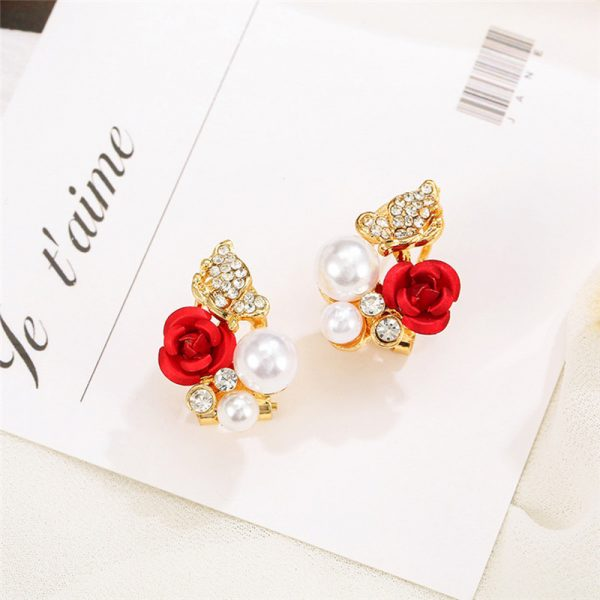 31045 03c870 600x600 - 2019 Trendy Rose Flower Earrings Exquisite Design Red Rose Stud Gorgeous Crystal Rhinestone Pearl Gold Stud Earring For Women 11