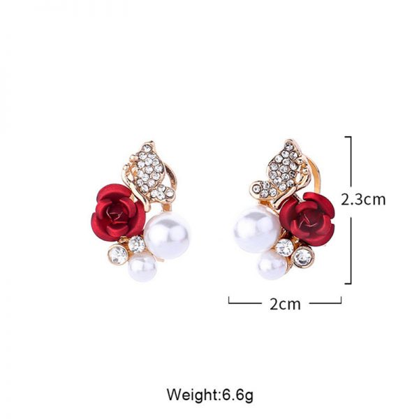 31045 31a2ed 600x600 - 2019 Trendy Rose Flower Earrings Exquisite Design Red Rose Stud Gorgeous Crystal Rhinestone Pearl Gold Stud Earring For Women 11