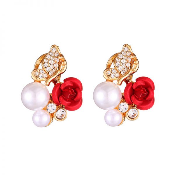 31045 f8bf65 600x600 - 2019 Trendy Rose Flower Earrings Exquisite Design Red Rose Stud Gorgeous Crystal Rhinestone Pearl Gold Stud Earring For Women 11