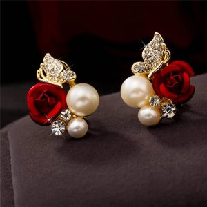 31045 f9021e 300x300 - 2019 Trendy Rose Flower Earrings Exquisite Design Red Rose Stud Gorgeous Crystal Rhinestone Pearl Gold Stud Earring For Women 11