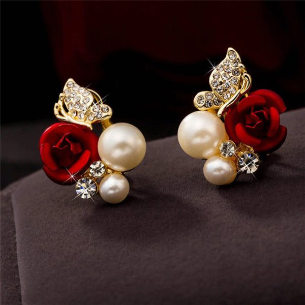 31045 f9021e 600x600 - 2019 Trendy Rose Flower Earrings Exquisite Design Red Rose Stud Gorgeous Crystal Rhinestone Pearl Gold Stud Earring For Women 11
