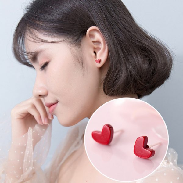 31063 28248b 600x600 - Exquisite Trendy Korean Small Red Heart 925 Sterling Silver Stud Earrings for Girls Party Statement  Brincos Jewelry Gift