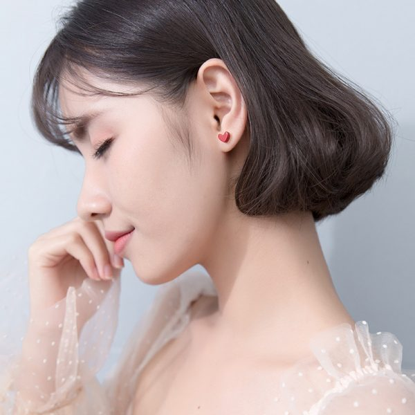 31063 434319 600x600 - Exquisite Trendy Korean Small Red Heart 925 Sterling Silver Stud Earrings for Girls Party Statement  Brincos Jewelry Gift