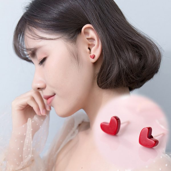 31063 9c955a 600x600 - Exquisite Trendy Korean Small Red Heart 925 Sterling Silver Stud Earrings for Girls Party Statement  Brincos Jewelry Gift