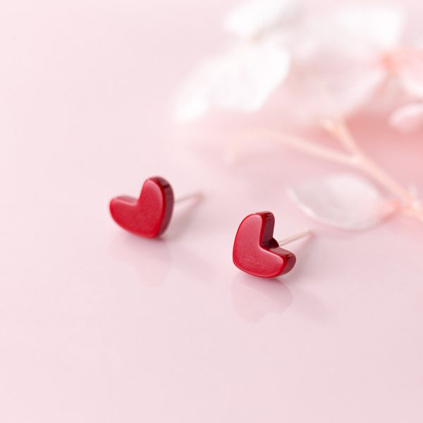 31063 a0488f 600x600 - Exquisite Trendy Korean Small Red Heart 925 Sterling Silver Stud Earrings for Girls Party Statement  Brincos Jewelry Gift