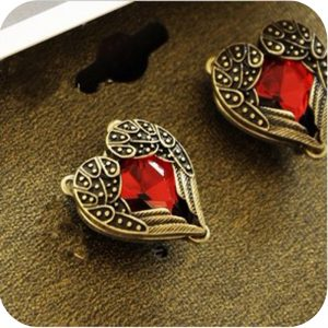 31070 7eee7c 300x300 - OMH wholesale 6pair OFF 23%= $0.55/pair EH76 fashion accessories vintage red heart gem wings stud earring 6g