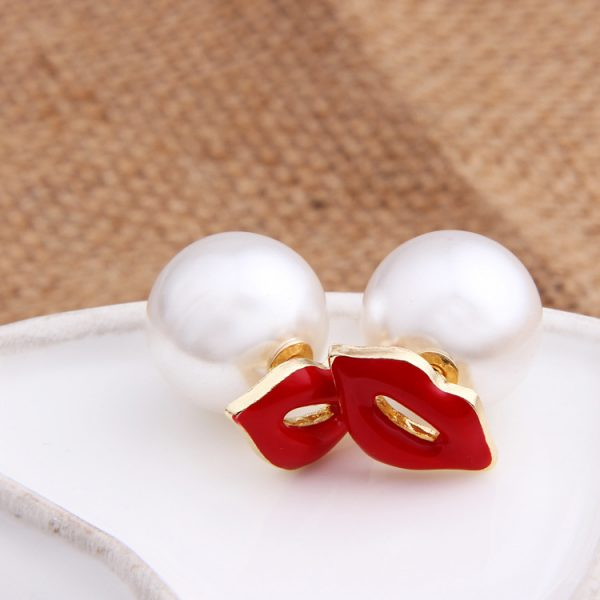 31072 d4815a 600x600 - GUVIVI Brand Fashion Double Side Earrings for Women Simulated-pearl Red Lips Stud Earrings Beads Jewelry valentines day Gift