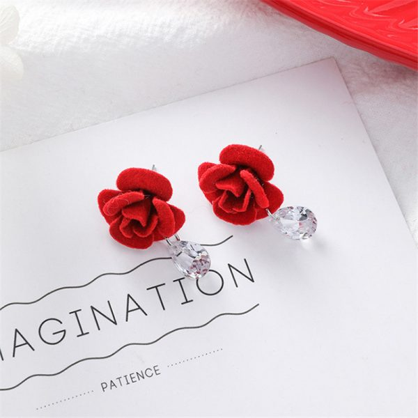 31076 1de6b4 600x600 - Cute Red Hairball Stud Earrings For Women Korean Lady Bowknot Pompon Ball Brincos Sweet Girl New Year Gift