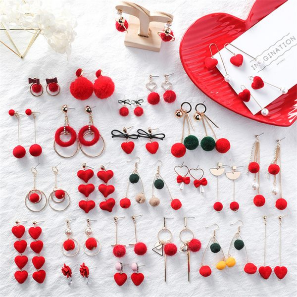 31076 6815eb 600x600 - Cute Red Hairball Stud Earrings For Women Korean Lady Bowknot Pompon Ball Brincos Sweet Girl New Year Gift