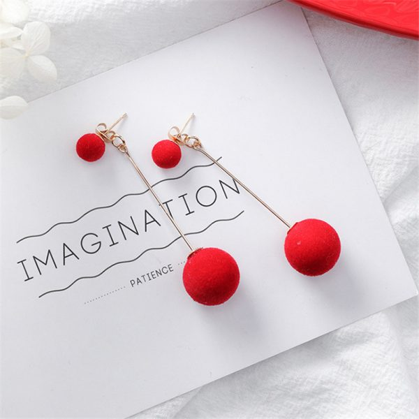 31076 85a822 600x600 - Cute Red Hairball Stud Earrings For Women Korean Lady Bowknot Pompon Ball Brincos Sweet Girl New Year Gift
