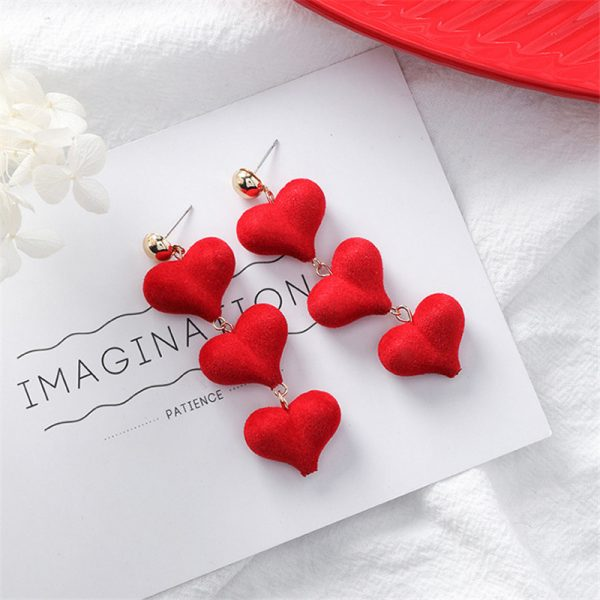 31076 e0c557 600x600 - Cute Red Hairball Stud Earrings For Women Korean Lady Bowknot Pompon Ball Brincos Sweet Girl New Year Gift