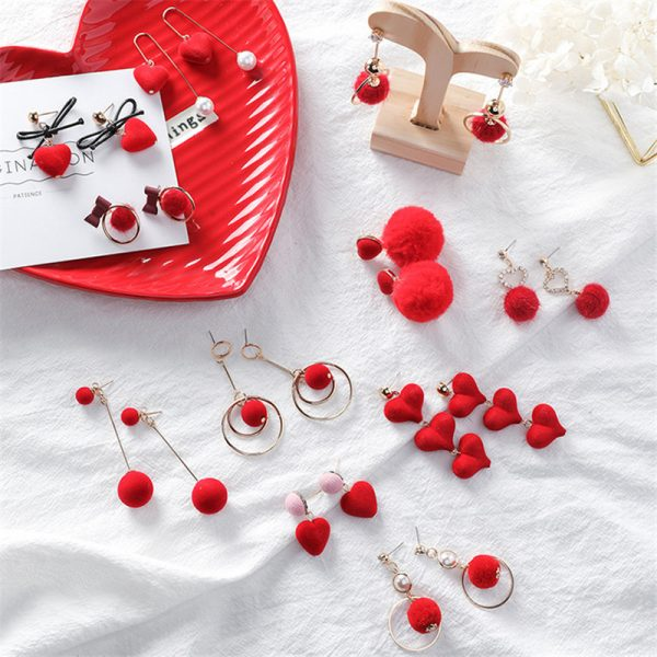31076 e11263 600x600 - Cute Red Hairball Stud Earrings For Women Korean Lady Bowknot Pompon Ball Brincos Sweet Girl New Year Gift