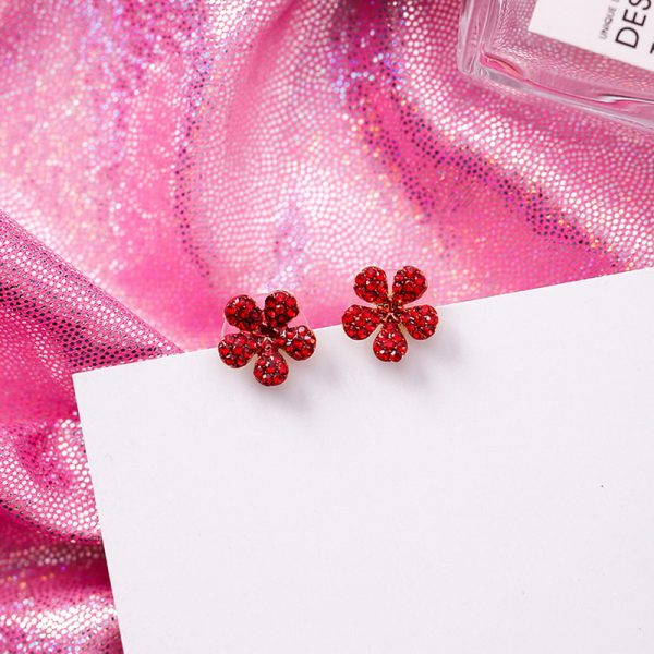 31077 3b0aa2 600x600 - Cute Korean Red Rhinestone Fruit Stud Earrings for Women Strawberry Cherry Flower Mushroom Earring Fashion Jewelry Gift MJ1432