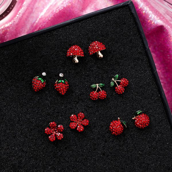 31077 755cf5 600x600 - Cute Korean Red Rhinestone Fruit Stud Earrings for Women Strawberry Cherry Flower Mushroom Earring Fashion Jewelry Gift MJ1432