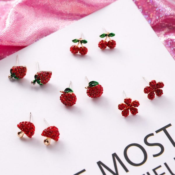 31077 7c81b1 600x600 - Cute Korean Red Rhinestone Fruit Stud Earrings for Women Strawberry Cherry Flower Mushroom Earring Fashion Jewelry Gift MJ1432