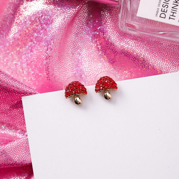 31077 b09a6d 600x600 - Cute Korean Red Rhinestone Fruit Stud Earrings for Women Strawberry Cherry Flower Mushroom Earring Fashion Jewelry Gift MJ1432