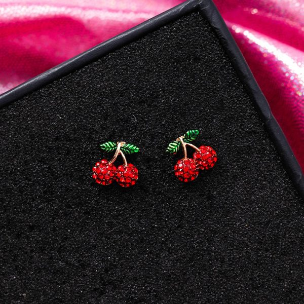 31077 ce2029 600x600 - Cute Korean Red Rhinestone Fruit Stud Earrings for Women Strawberry Cherry Flower Mushroom Earring Fashion Jewelry Gift MJ1432