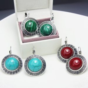 31078 50a090 300x300 - Blue Earrings Vintage Big Stud Earring With Stones Leverback Tibetan Silver Earrings Blue Red Green Round For Women Jewelry