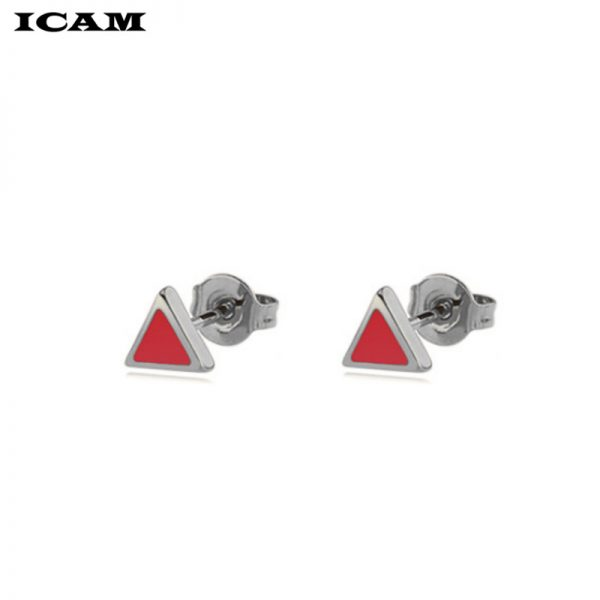 31163 15af83 600x600 - ICAM Golden Korean Minimalist Stainless Steel Red Enamel Triangle Stud Earrings for Women Fashion 2019 Jewelry Gift for Girl