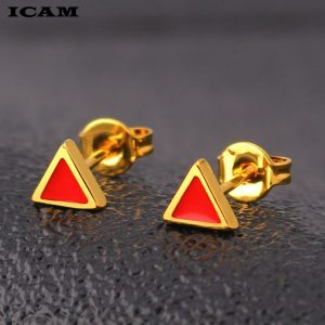 31163 39eccd 300x300 - ICAM Golden Korean Minimalist Stainless Steel Red Enamel Triangle Stud Earrings for Women Fashion 2019 Jewelry Gift for Girl
